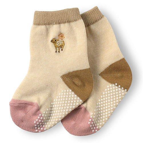 すくすく子鹿のベビー靴下 ベージュ