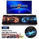 2000 in 1 ヒーローズボックス5 Heroes Box 5 アーケードゲーム機 ビデオゲームコンソール 内蔵2000クラシックゲーム ゲームコンソール ゲームアーケード 2プレイヤー LEDライトバー搭載 人気デザイン トーナメントレバー機