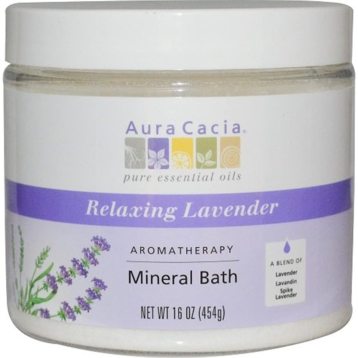 品魅惑する曲Aura Cacia - Aromatherapy Mineral Bath, Relaxing Lavender - 16 oz (454 g)