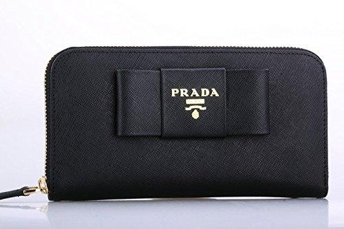 (プラダ) PRADA 財布 長財布 二つ折り パスケース付き ブラック レザー 1mh132safmet-nero ブランド [並行輸入品]