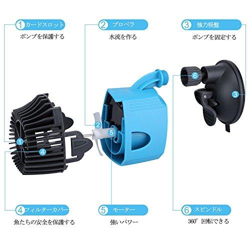 KEDSUM 12W 振動水流ポンプ 吐出量7000L/H ウォーターポンプ 水槽循環ポンプ 強力 安定な吸盤 取扱説明書付