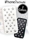 ホワイト 【他1色あり】 iPhone7 ケース スタースタッズ デザイン手帳型ケース シンプルかつ個性的で高級感漂うカバー ユニセックス ダリアリーケース スタンド カードポケット 高品質 横開き