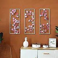 3D効果ウォールステッカー ハンギングメタル壁画アート装飾壁の装飾ホームデコレーション壁紙アートデコレーションウォールデコレーション3つの小品 (色 : ピンク, サイズ : 27x2x67cm)