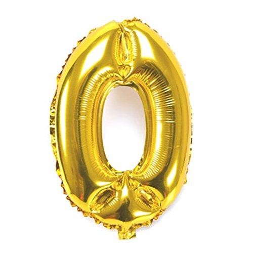 風船0数字パーティー誕生日結婚式飾り物アルミゴールドバルーン40インチ超巨大(0-9)J000