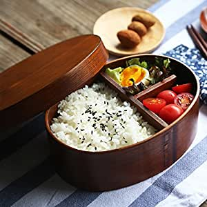 miyare(ミヤレ)  曲げわっぱ 小判形弁当箱 ランチバッグ付き 和風の木製弁当 漆塗り軽量タイプ 環境保護 クリエイティブ 木製カトラリー 寿司弁当 食器