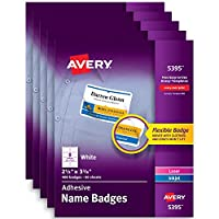 Averyホワイト粘着名前バッジ 5 pack