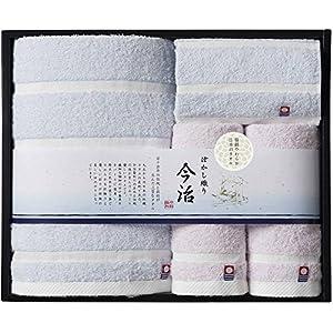 日本ユーテンシル タオルギフトセット ブルー・ピンク バスタオル/60×120cm、フェイスタオル/34×75cm、ハンドタオル/34×35cm