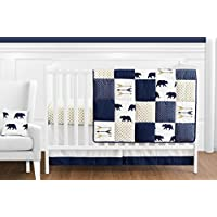 Sweet Jojo Designs 11-Piece Navy Blue Gold and White Patchwork Big Bear Boy Baby Crib Bedding Set without Bumper s [並行輸入品]