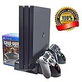 PS4 スタンド Wimaha PS4 PRO/SLIM 多機能縦置きスタンド PS4 冷却 ファン コントローラ充電 充電表示 ゲームディスク収納 多機能 1年保証