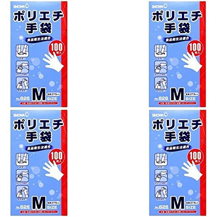 エール上陸泳ぐ【まとめ買い】826 ポリエチ手袋M 100枚入【×4個】