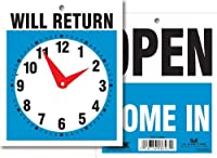 Headline Sign 9381 Double-Sided Open/Will Return Sign with Clock Hands 5 Inches by 6 Inches [並行輸入品]