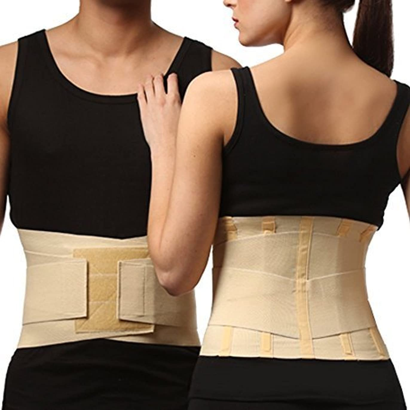 配るパシフィック建築家Medical Grade LUMBAR SUPPORT BRACE, Back Belt with Stiff Splints & Double Pull Straps (Medium) by Tonus Elast...