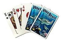 Sea Turtles–Veroビーチ、フロリダ州( Playingカードデッキ–52カードPokerサイズwithジョーカー)