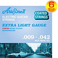 【6セット】ARIA/アリア AGS-800C/XL [09-42] エレキギター用 コーティング弦