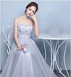 00416d35493de  ノーブランド品 ブライズメイド ドレス ロング パーティー ドレス ドレス 結婚式 オフショルダー 体型カバー Aラインドレス フォーマル ミディアム .