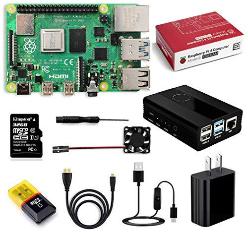 Raspberry Pi 4 Model Bキット-ラズベリーパイ 4  冷却ファン アルミニウム合金ケース  5V 3Aスイッチ付電源 32GBのmicroSDカード カードリーダー HDMIアダプター ドライバー  4GB RAMなど 24ヶ月保証