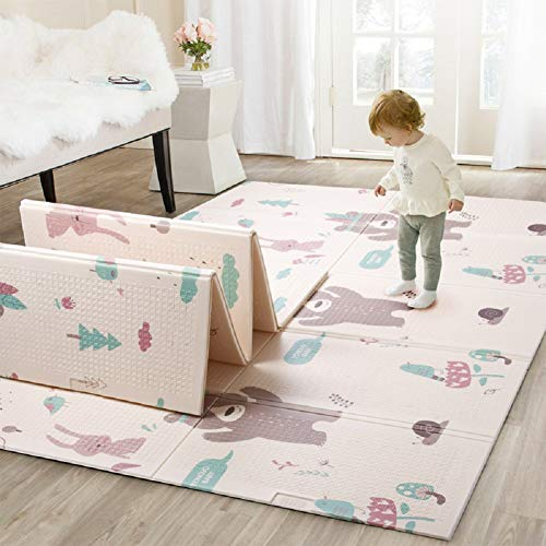 Infant Shining ベビープレイマット 折り畳み式 1-7歳の赤ちゃんのプレイマットゲーム (Bear,145cm*195cm*1cm)