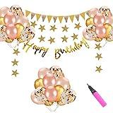 誕生日 飾り付け セット 風船 ガーランド デコレーション HAPPY BIRTHDAY きらきら 華やか おしゃれ ゴールド
