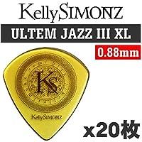 【20枚セット】Kelly SIMONZ(ケリーサイモン) オリジナルピック KSJZ2-088 ウルテム JAZZ III XL 0.88mm KS ロゴ