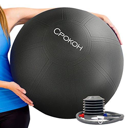 CPOKOHバランスボール 55/65/75cm新型実用マッサージヨガボール両面 エクササイズ用 多機能 厚い ポンプ付き アンチバースト仕様 ジム/家/オフィスなどに適用 (55, ヨガボール)