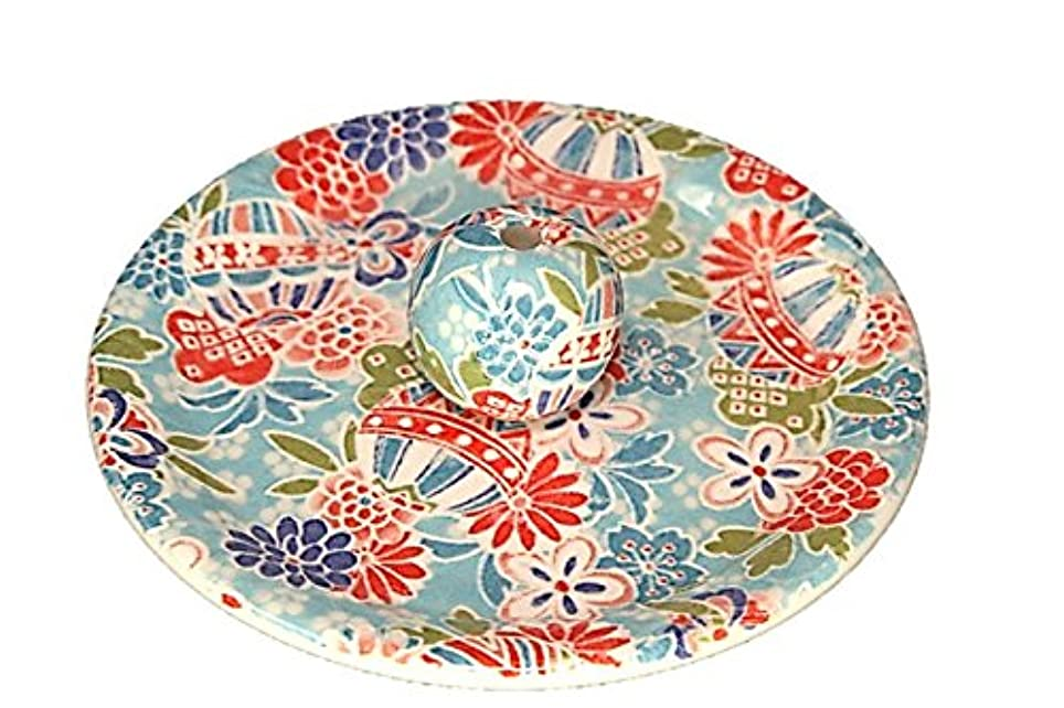 単独で未使用チェリー9-52 京雅 青 お香立て 9cm香皿 お香たて 陶器 日本製 製造?直売品