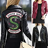 Female Riverdale Leather Jackets Winter Slim Motorcycle Bomber Jacket Coats South Side Serpents Printed Black Wine Red(Red,XL)