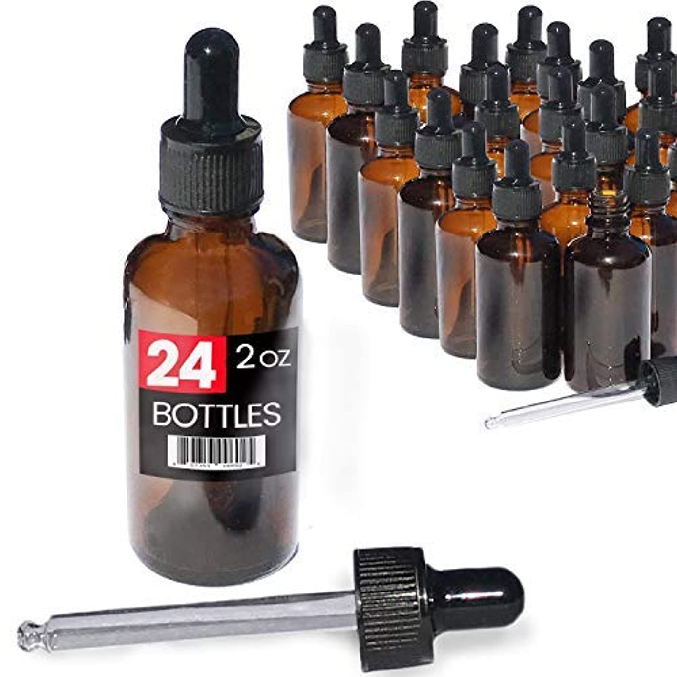 くるみ業界知る2oz Premium Dropper Bottles (24 pack) - Great for Essential Oils - Amber 2 oz Glass - Glass Eye Dropper - Guaranteed...