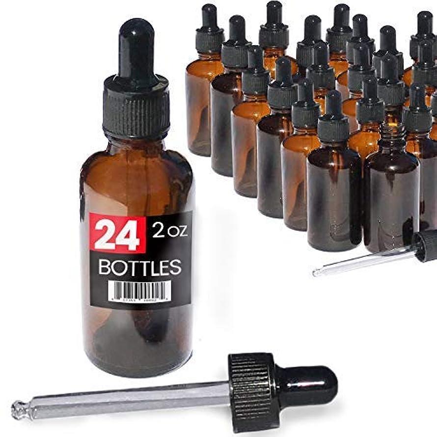 インシデントスリーブ交換可能2oz Premium Dropper Bottles (24 pack) - Great for Essential Oils - Amber 2 oz Glass - Glass Eye Dropper - Guaranteed...