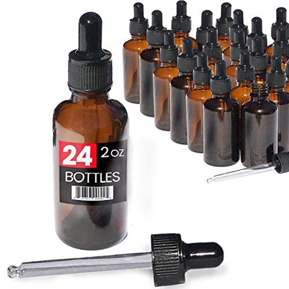 めんどり無線進化する2oz Premium Dropper Bottles (24 pack) - Great for Essential Oils - Amber 2 oz Glass - Glass Eye Dropper - Guaranteed...