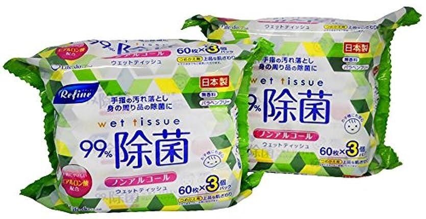 夜乱用作業ノンアルコール 除菌 パラベンフリー ヒアルロン酸 配合 ウェットティッシュ 無香料 60枚 3個入×2パック(360枚) LD-105