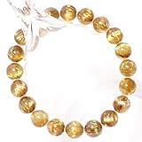 透明度の良い高級天然石ゴールドキャッツアイ タイチンルチルクォーツ(黄金色)9~9.5mm珠パワーストーンブレスレット