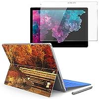 Surface pro6 pro2017 pro4 専用スキンシール ガラスフィルム セット 液晶保護 フィルム ステッカー アクセサリー 保護 写真・風景 紅葉 秋 景色 005203