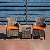 Best パティオの家具セット - sukeq 3ピースパティオ家具セットウィッカー籐ホーム屋外パティオセットwith 2クッション椅子、2ピースクッションと1Rattanテーブル、モダン家具セット–Ships From U。S。A。 Review