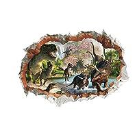 Posmant ウォールステッカー インテリア 壁紙 ウォールペーパー 壁シール 飾り グラス ベッドルーム リビングルーム ホーム 恐竜 3D 約50x70cm 1PC Wall Paper Sticker