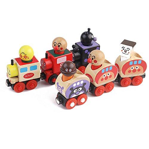 [Lucky Rainbow]木製のおもちゃ車 子供 知育 健康 積み木 セット全6種 磁石つき おもち あんぱんまんカー (マルチカラー)