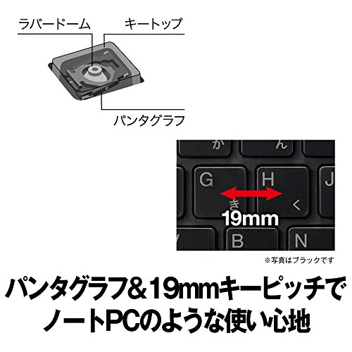 『BUFFALO コンパクトモデル テンキーレス 有線キーボード ホワイト BSKBU305WH 【Windows/PS4対応】』の2枚目の画像