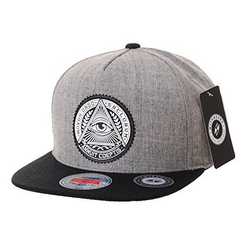 WITHMOONS野球帽キャップスナプバック ハット イルミナティ パッチ ヒップホップ ベースボールキャップ スナプバックハッツ ニューエラAL2344(Grey)
