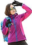 Lanbaosi アウトドア ストレッチ コート レディース 登山服 スポーツ カジュアル ウェア ソフトシェル ジャケット 裏フリース 防水 防風 保温 多機能 アノラック 釣り スキー ハイキング バイク用パープルS
