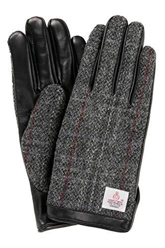 ハリスツイード 手袋 スマホ対応 メンズ 本革 レザー グレーチェック [Lサイズ]