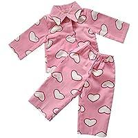 ピンクハート人形パジャマ、American Girl人形Sleeping服、長袖人形シャツと伸縮性ウエストバンドパンツ2個