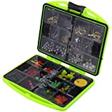 BOBLOV 202Pcs Fishing Tackle Box ABS 24 Compartments Fishing Tool Set Tackle Box Full Loaded Lure Bait Hooks Sinker Fishing A