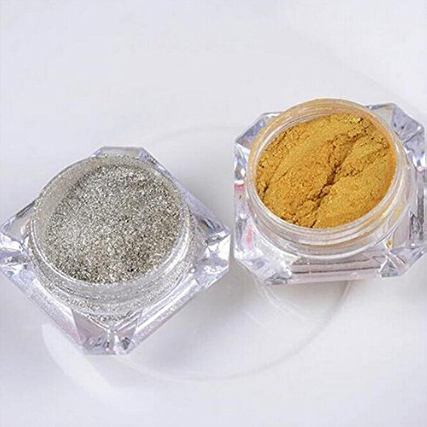 内訳六微生物Doitsa フラッシュ ネイル用 パウダー ネイル 微分子 ラメグリッター スーパーフラッシュ スパンコール ゴールド シルバー 2色セット 各色3g入り