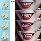 Vampire Teeth Fangs Dentures - 4 Pair - Cosplay Props Halloween Costume Props Party Favors (13mm 15mm 17mm 19mm) - Without Denture Adhesive