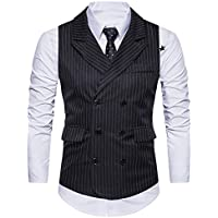 GOMY Men's Suit Vest Stripe V-neck Slim Fit Double Breasted Lapel Tailored Business Dress Waistcoat