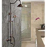 レトロパレス浴室ブラスシャワー蛇口スライドバーハンドシャワーと降雨シャワーヘッド調整可能な壁掛けダブル機能、