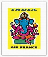 インド - エアフランス - ヒンドゥー教の主ガネーシャ - ビンテージな航空会社のポスター によって作成された ジャン・カルリュ c.1959 - キャンバスアート - 28cm x 36cm キャンバスアート(ロール)
