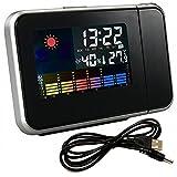 USB セット プロジェクター 置き 時計 LED 温度 湿度 天気 予報 取扱い説明書 付き