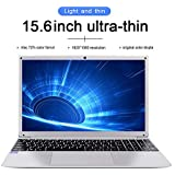 HSW 15.6 inch Windows 10 Home Business Laptop Ultra-Thin Portable Notebook Intel Atom Z8350 Quad Core Ultrabook ,Supports WiFi, HDMI, Camera and 128GB TF Card Extension Computer (4GB+64GB Silver)