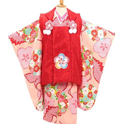 (キステ)Kisste 《七五三》 3歳 被布8点セット 《小町Kids 赤×ピンク~鹿の子鶴~》 ブランド 小町キッズ 8-6-00524