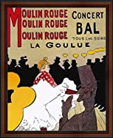 Moulin RougeコンサートBal , La Goulue byロートレック。Framed Fineアートプリントポスター。カスタムMade Real Wood Dark Walnut withブラックトリムフレーム( 181/ 4x 221/ 4)